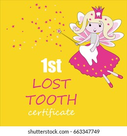 Tooth fairy with magic stick and stars. Vector illustration on yellow background. First tooth certificate. Greeting card