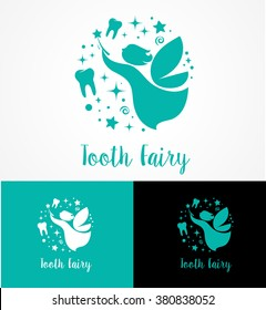Tooth Fairy with magic wand - make a wish icon and symbol