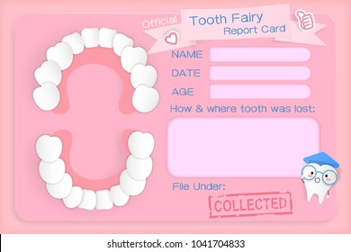 tooth fairy report card on the pink background