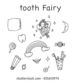 Tooth fairy set. Hand drawn vector stock illustration. Black and white whiteboard drawing