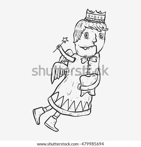 Tooth Fairy Sketch Line Art Cartoon Stock Vektorgrafik Lizenzfrei