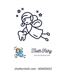 Tooth Fairy thin line art icons, ?hildren's dentistry logo