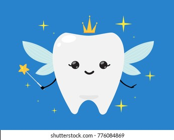 Tooth fairy wearing crown and holding a star magic wand