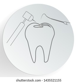 Tooth filling icon. Dental care concept. vector illustration.