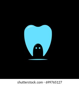 tooth ghost logo vector