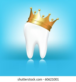 Tooth In Golden Crown, On Blue Background, Vector Illustration