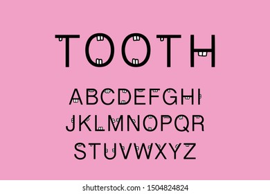 Tooth hand drawn vector illustration in cartoon style pink oral cavity with organs dentistry medical