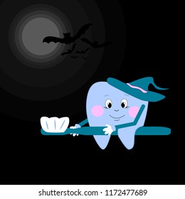 A tooth in a hat flies on a toothbrush. Happy Halloween. Grafic illustration.