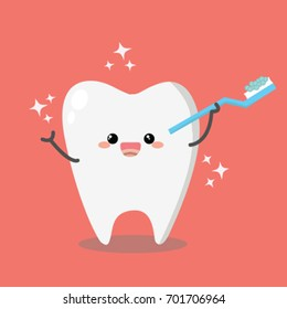 Tooth holding toothbrush with toothpaste. Cute cartoon smiling character. Oral dental hygiene.