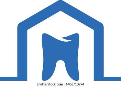 Tooth with home roof logo template vector icon design