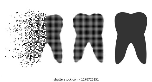 Tooth icon in disappearing, pixelated halftone and undamaged entire versions. Pieces are organized into vector disappearing tooth shape. Disappearing effect involves rectangular particles.