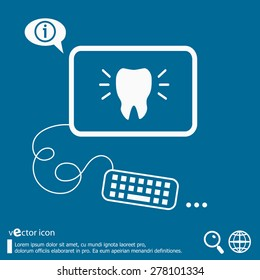Tooth icon and flat design elements. Line icons for application development, web page coding and programming, creative process, social media, print