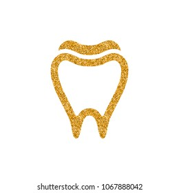 Tooth icon in gold glitter texture. Sparkle luxury style vector illustration.