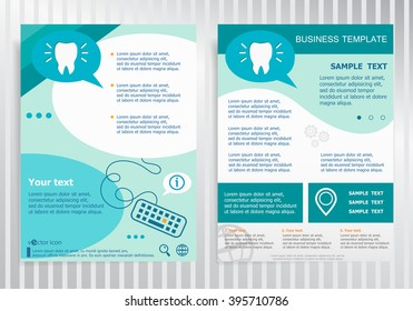 Tooth icon on vector Brochure. Flyer design. Layout template, size A4.
