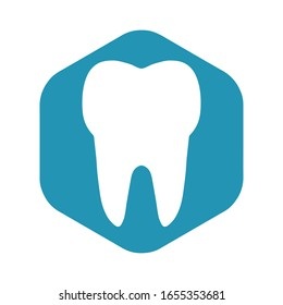 Tooth icon. White tooth on a blue hexagon. Vector illustration in a simple flat style isolated on a white background.