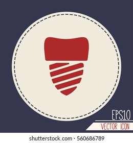Tooth implant vector icon.