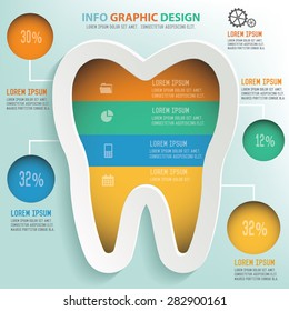 Tooth info graphic design, Business concept design. Clean vector.