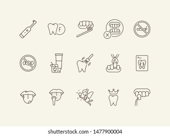 Tooth line icon set. Extraction, no smoking, brush, toothpaste. Dental care concept. Can be used for topics like dentist, pediatric dentistry, health care