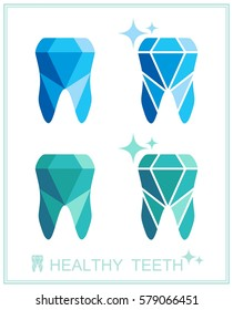 Tooth logo set. Vector illustration for dental clinic branding with teeth in modern style - polygonal low poly in blue and white.