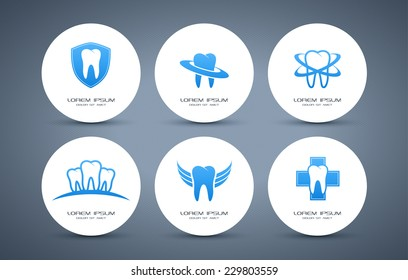 Tooth logo set. Vector logotype design.