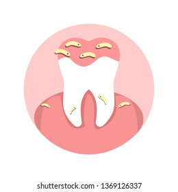 Tooth Microbes, Cavity Infection Flat Illustration. Dental Office, Stomatology Clinic. Bad Oral Hygiene Problem, Orthodontic Disease, Sickness, Cavity Contagion. Dentistry, Medical Treatment