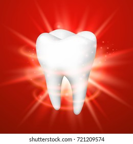 Tooth on a red background, template design element, Vector illustration