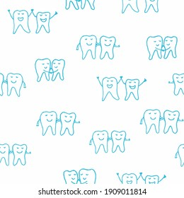 Tooth Pairs Dental seamless repeat pattern with doodle tooth teeth silhouettes in blue and white. Vector illustration