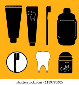 Tooth past, tooth brush and floss, mouthwash icons. Vector illustration. Dental concept for your design, web, app