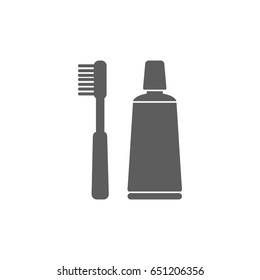 Tooth paste and tooth brush icon in trendy flat style isolated on white background. Symbol for your web site design, logo, app, UI. Vector illustration, EPS