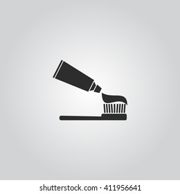 Tooth paste and brush icon vector