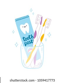 Tooth paste and brushes, vector cartoon illustration