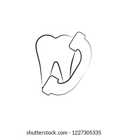 tooth, phone, dentist icon. Element of dantist for mobile concept and web apps illustration. Hand drawn icon for website design and development, app development