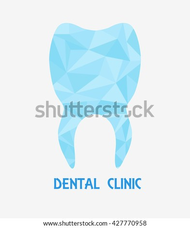 Tooth Polygon Logo Stylized Tooth Shape Stock Vector Royalty Free