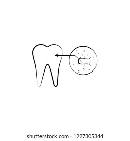 tooth problem, bacterium icon. Element of dantist for mobile concept and web apps illustration. Hand drawn icon for website design and development, app development