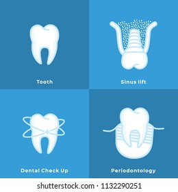Tooth, Prosthesis, Sinus Lift, Dental Check Up, Tooth Diseases. Flat Line Art Drawings. Dental Clinic Icons. Web Pictogram for Dentistry. Stomatology Concept, Logo or Illustration
