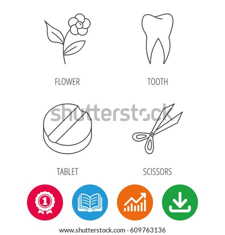 Tooth Scissors Tablet Icons Flower Linear Stock Vector Royalty Free