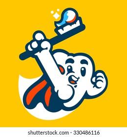 Tooth super hero mascot. Vector flat illustration.