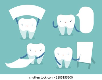 Tooth and text box of dental vector concept.