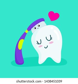 Tooth and toothbrush, Cute cartoon of tooth and toothbrush.