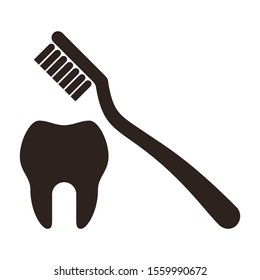 Tooth and toothbrush icon isolated on white background