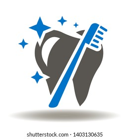 Tooth toothbrush sparks purity icon vector. Teeth dental oral hygiene logo. Clean professional care mouth illustration.