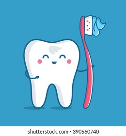 Tooth with toothbrush, vector