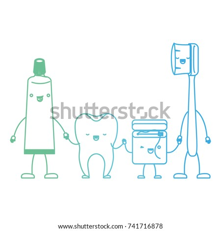 99e8d389d tooth and toothpaste and dental floss and toothbrush in cartoon holding  hands in degraded green to blue color contour vector illustration - Vector