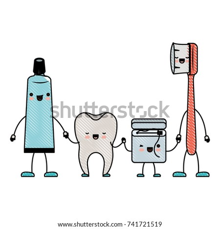 008ceb5f7 tooth and toothpaste and dental floss and toothbrush in cartoon holding  hands in colored crayon silhouette vector illustration - Vector