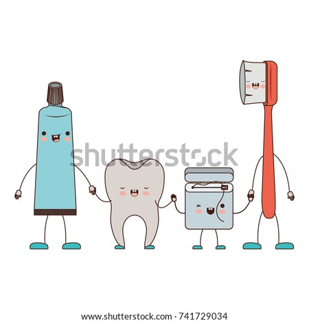 2ec27859c tooth and toothpaste and dental floss and toothbrush in cartoon holding  hands in colorful silhouette vector