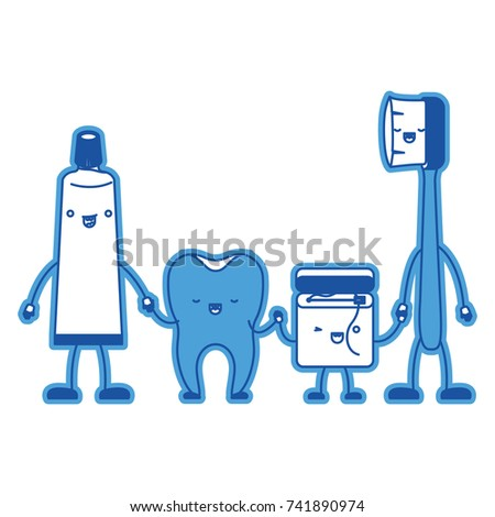 820e336e4 tooth and toothpaste and dental floss and toothbrush in cartoon holding  hands in blue silhouette vector