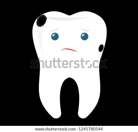 Tooth Vector Illustration Sad Tooth Character Stock Vector Royalty