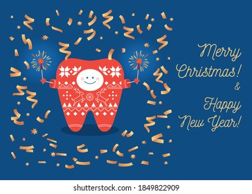 Tooth wearing a knitted sweater with bengal lights and confetti celebrate Christmas and New Year. Dental greeting card.