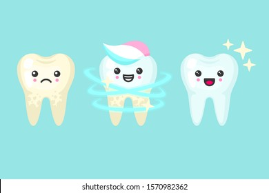 Tooth whitening and cleaning stomatology concept. Cute colorful cartoon vector teeth isolated illustration