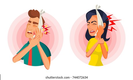 Toothache Concept Vector. Oral Toothache Concept. Sad Patient Suffering From Toothache. Cartoon Character Illustration